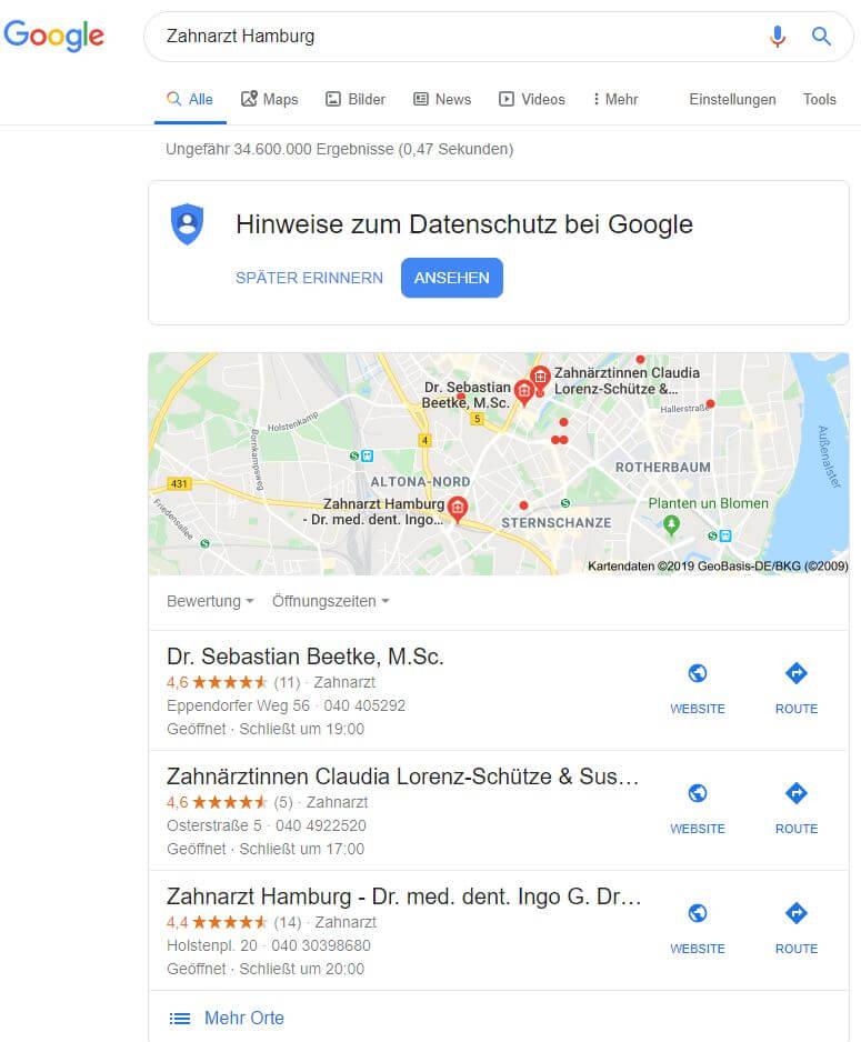Lokales Suchergebnis für Zahnarzt Hamburg aus dem Local Snack Pack